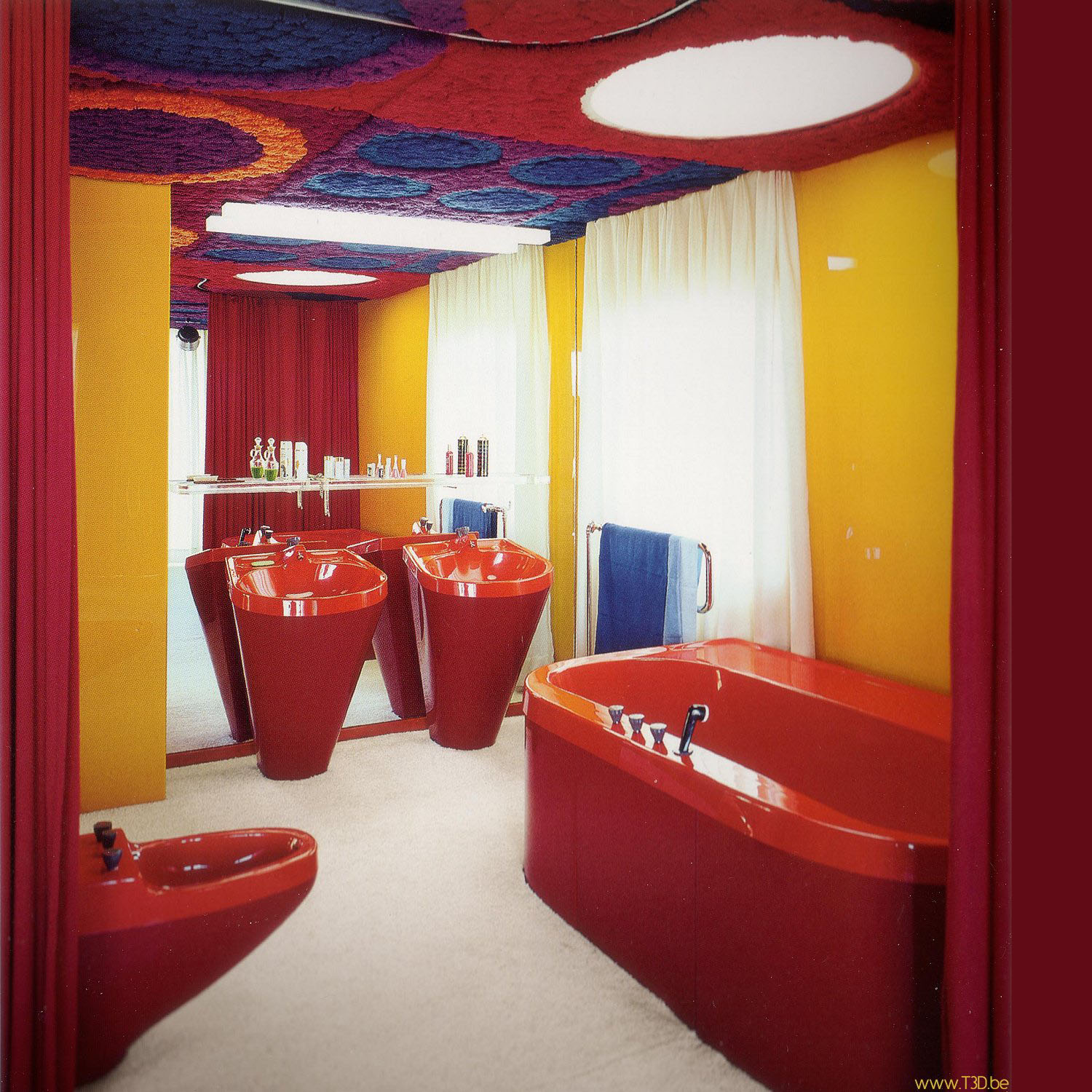 Red fiberglass bathroom manufactured by Rohm and Haas.