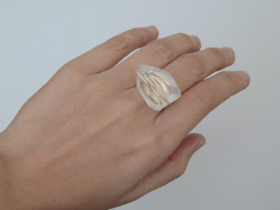 big custom sized handmade clear quartz 14K gold filled cocktail ring