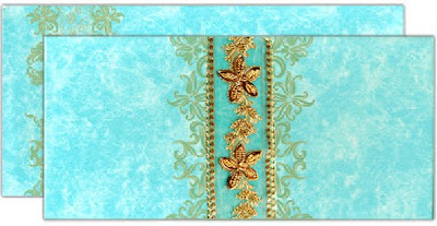 Ocean Blue and Gold Elegant Themed Wedding Invitations