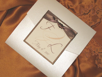 Elegant Frame Themed Wedding Invitations With Brown Ribbon