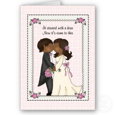 Funny Cartoon Wedding Invitations With Dash Dot Border