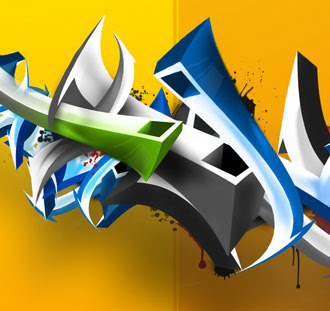 3D design graffiti Bubble Letters full color with photoshop cs4 learning