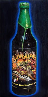 oil painting of a bottle of Dark Lord