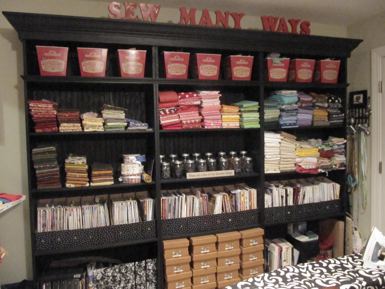 Sew many ways added a few things to my sewing room for Room organization