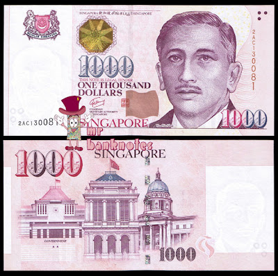 Singapore Portrait Series 1000 Dollar banknote Triangle