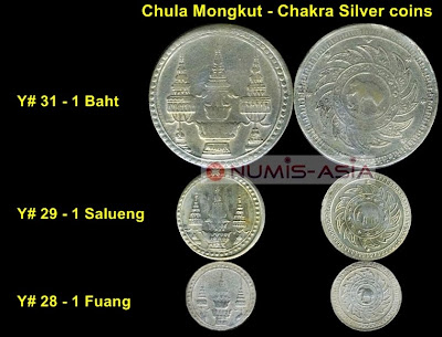 Chula Mongkut Chakra coins silver Rama 5 Chulalongkorn