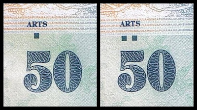 Singapore 50 Dollar Dot varities