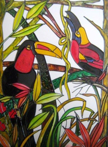 Pin Tucanes Falso Vitral Pintura Sobre Vidrio on Pinterest