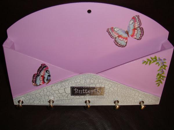 Porta Correspondencia e Chaves (envelope) Lilás Borboleta - R$ 20,00
