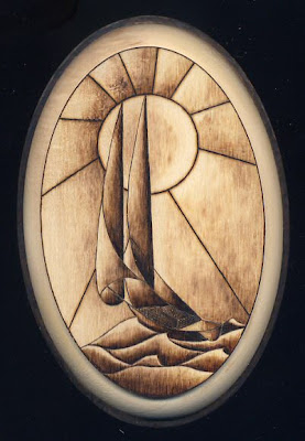 Sailboat in stained glass effect.