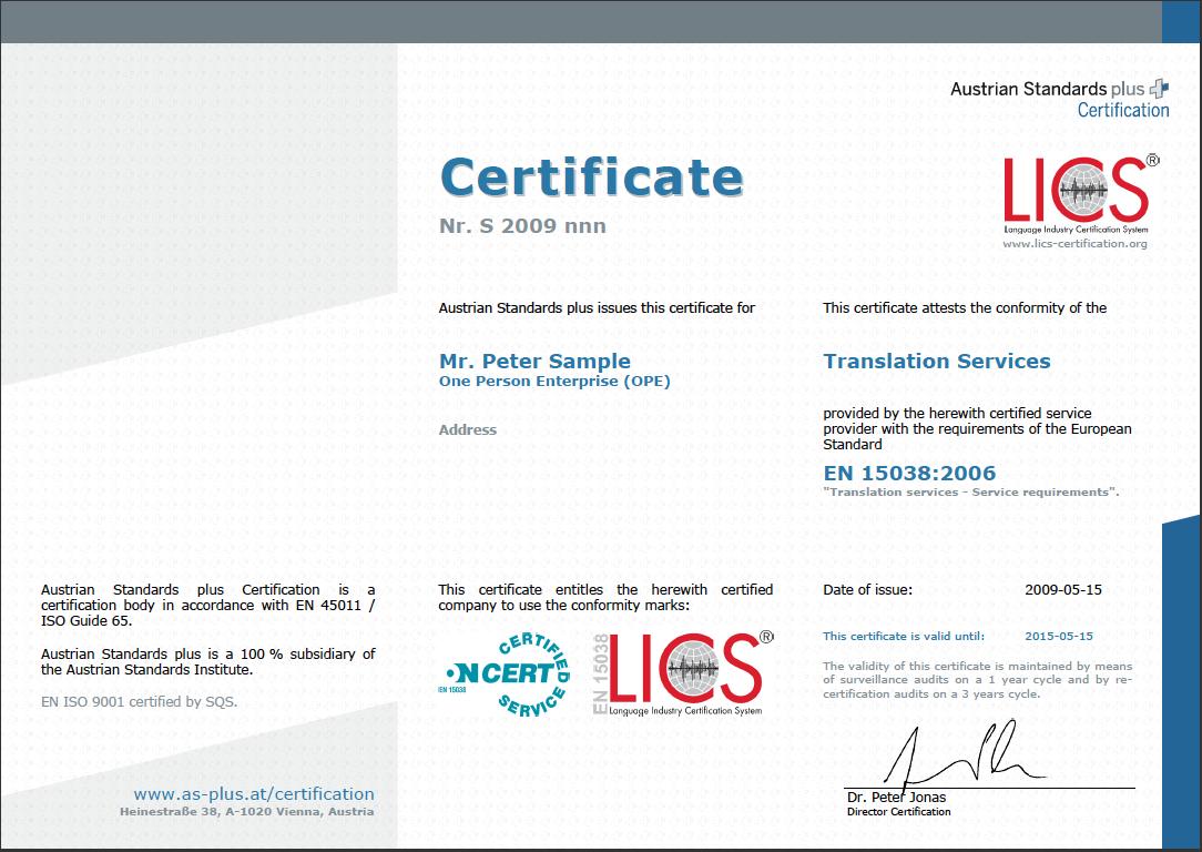 translation certificate sample certified iso interpretation ope provider qms service services