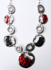Red & Silver circles necklace
