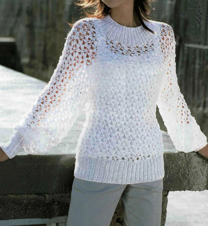 Summer Knitting Patterns : Free Knitting Patterns: Summer white pullover