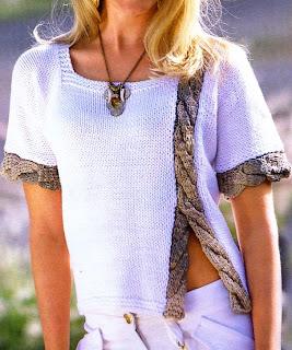 Jersey de manga corta con trenza y abertura delantera