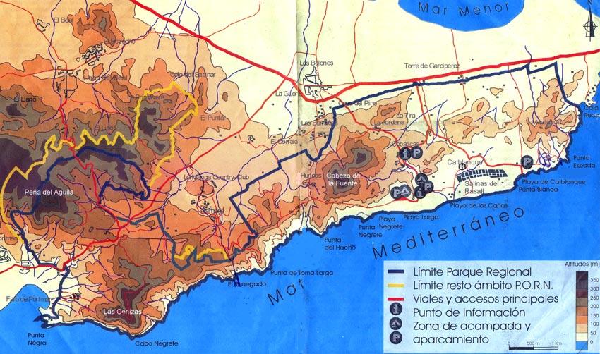 Parque Regional de Calblanque, Monte de las Cenizas Mapa+Calblanque