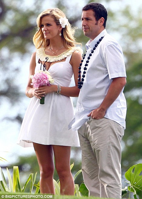 Adam Sandler films a wedding scene with swimsuit model Brooklyn Decker
