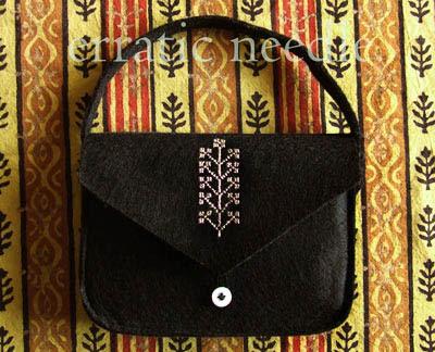 bolsa preta bordada, hand embroidered felt handbag