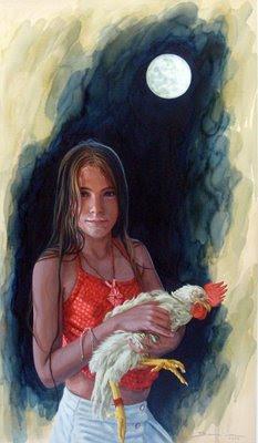 cuadros de niños con animales