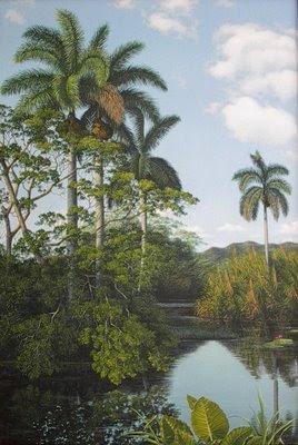 paisaje típico cubano al oleo