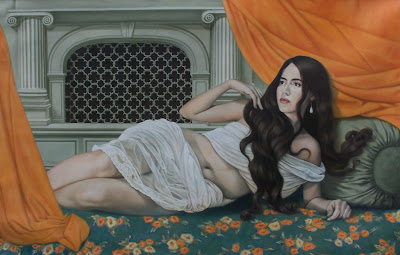 Mujer pintada al oleo