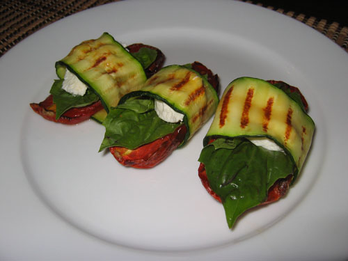 Grilled Zucchini Wraps with Tomatoes and Goats Cheese