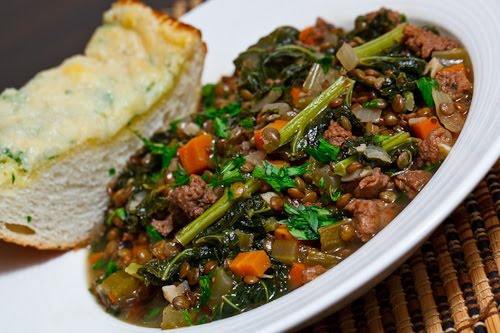 Lentil Stew with Italian Sausage and Kale on Closet Cooking