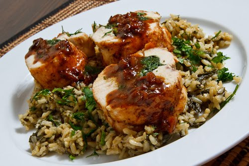 Spinach and Feta Stuffed Chicken with Pan Sauce on Spanakorizo (Greek Spinach Rice)