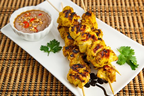 Grilled Curried Chicken Skewers With Spicy Peanut Sauce Recipes ...