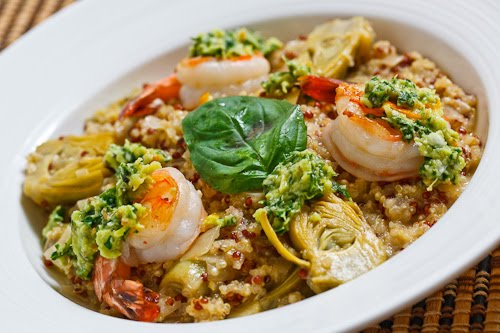Baby Artichoke Heart Quinoa Risotto with Shrimp and Meyer Lemon Pesto