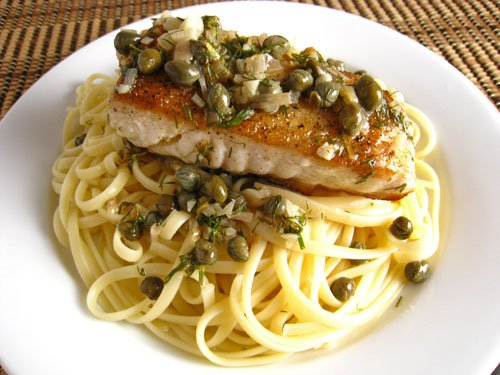 Halibut with a Lemon Dill Caper Sauce on Fettuccine