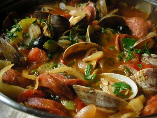 Orzo with Linguia and Clams