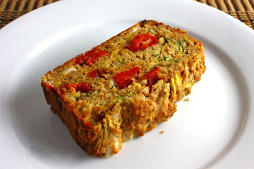 Zucchini Bread with Roasted Red Peppers and Feta, Slice