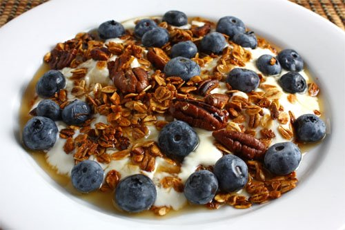 Blueberry and Maple Pecan Granola Parfait on Closet Cooking