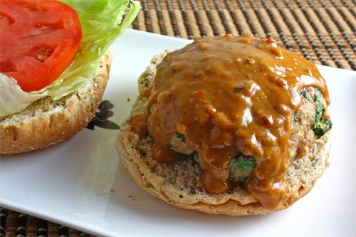 Thai Spicy Peanut Sauce Turkey Burger