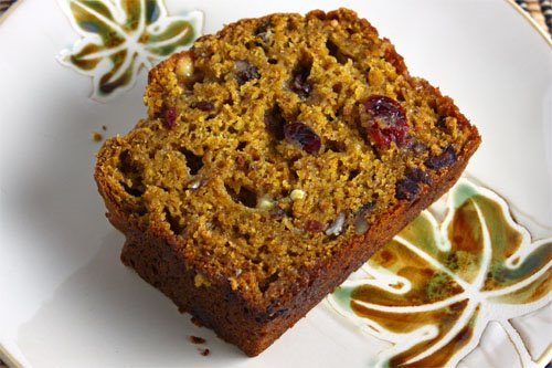 Pumpkin Bread with Dried Cranberries, Toasted Pecans and White Chocolate Chips