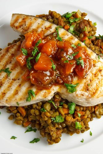 Swordfish Steak with Mango Chutney on Curried Lentils