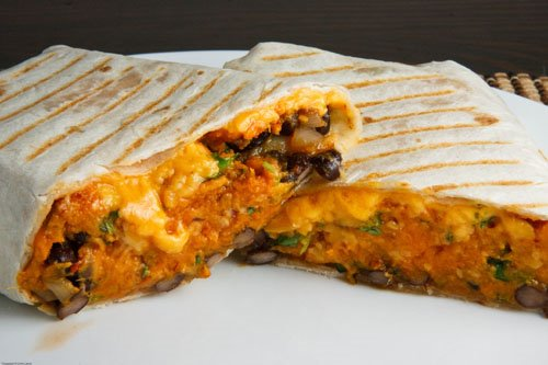 and cheddar cheese vegetarian burritos pumpkin and black bean burrito