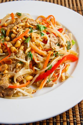 Thai Peanut Pork Noodle Saute