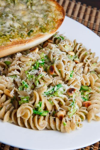 Garlic Scape Pesto on Fusilli with Garlic Scape Garlic Bread on Closet ...
