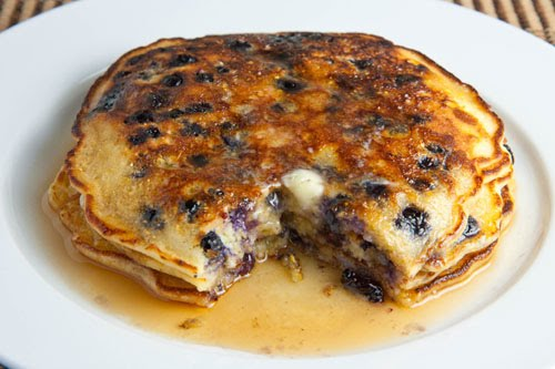 Blueberry Cornmeal Pancakes on Closet Cooking