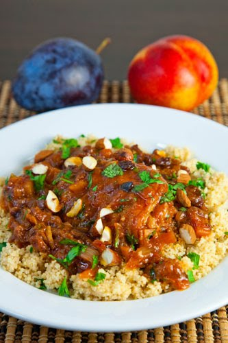 Moroccan Nectarine and Plum Chicken Tagine