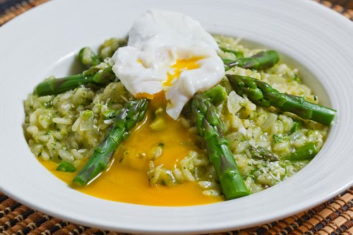Asparagus Risotto with a Poached Egg on Closet Cooking