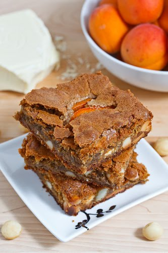 Apricot White Chocolate and Macadamia Nut Blondies