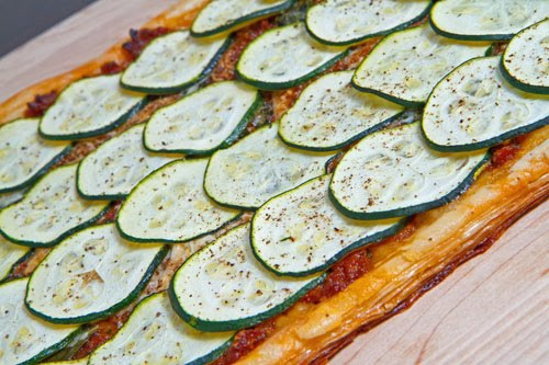 Zucchini and Sun Dried Tomato Pesto Parmesan Tart
