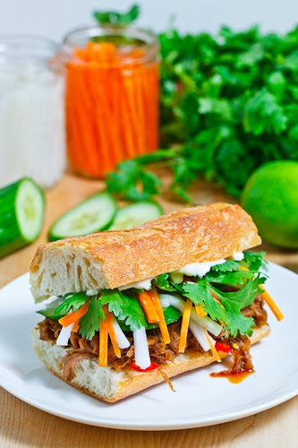 Vietnamese BBQ Pulled Pork Banh Mi on Closet Cooking