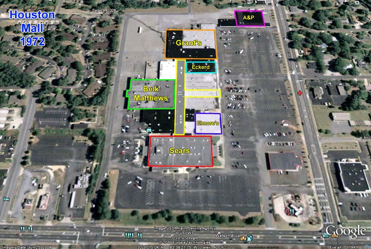 Sky City Southern And MidAtlantic Retail History Houston Mall - Map of georgia mall