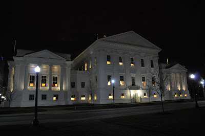 North side of the Virginia Capitol at night