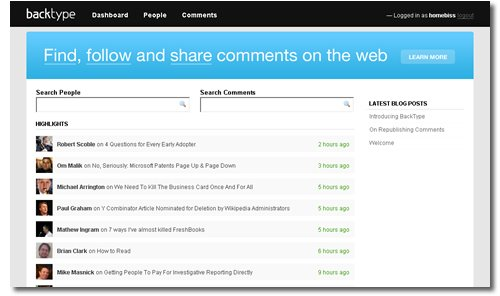 BackType, Blog Comments Aggregator
