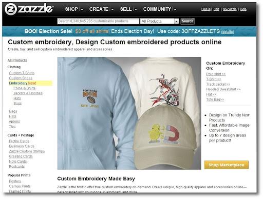 Online custom embroidery design, Zazzle