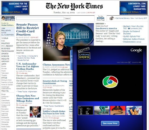 Google Chrome making headlines on New York Times